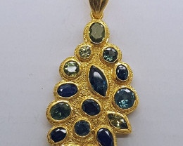 16 x Natural Australian Sapphire set in Gold Plated Pendant