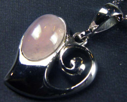 ROSE QUARTZ GEMSTONE SILVER PENDANT GRR 204