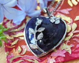 Lovers Amethyst Crystal Heart Pendant SU 27