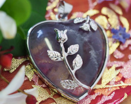 Lovers Amethyst Crystal Heart Pendant SU 45