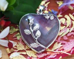 Lovers Amethyst Crystal Heart Pendant SU 48