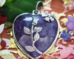 Lovers Amethyst Crystal Heart Pendant SU 49