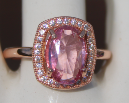 Tajik Pink Spinel 2.25ct,Rose Gold Plated,Solid Sterling Silver Ring
