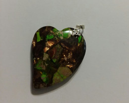 HEART SHAPED BORNITE AND JASPER PENDANT STERLING SILVER 925 BAIL SPECTACULA