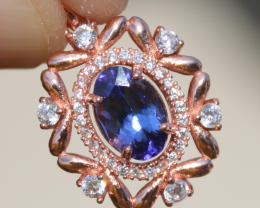 Tanzanite 1.00ct,Rose Gold Plated,Solid Sterling Silver Pendant