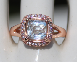 Aquamarine 1.65ct,Rose Gold Plated,Solid Sterling Silver Ring