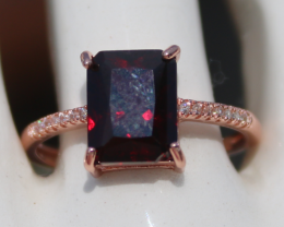 Pyrope Garnet 3.40ct,Rose Gold Plated,Solid Sterling Silver Ring