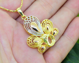 Tri-Colour Peacock Gold Filled Pendant
