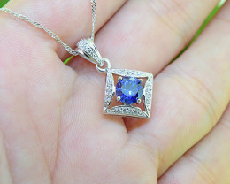 Blue Sapphire Simulant Gold-Filled Pendant