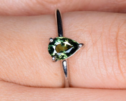 Natural Green Sapphire Silver Ring