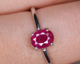 Natural Burma Ruby Silver Ring