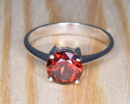 Natural Rhodolite Garnet With Silver Ring