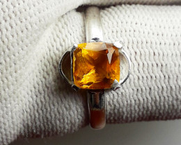 Natural Citrine Silver Ring.