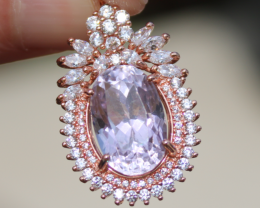 Pink Kunzite 11.25ct, Rose Gold Plated, Solid Sterling Silver Pendant, Natu