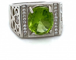 Peridot 4.15ct White Gold Finish Solid 925 Sterling Silver Ring