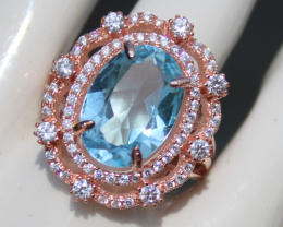 Blue Topaz 6.00ct,Rose Gold Plated,Solid 925 Sterling Silver Ring