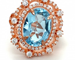 Blue Topaz 6.00ct Rose Gold Finish Solid 925 Sterling Silver Ring