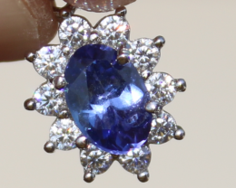 Tanzanite .60ct,Rose Gold Plated,Solid 925 Sterling Silver Pendant