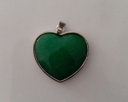 HEART SHAPED GREEN AGATE GEMSTONE PENDANT LARGE STERLING SILVER BAIL