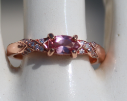 Tajik Pink Spinel .55ct,Rose Gold Plated,Solid 925 Sterling Silver Ring