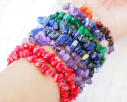 10 bright  Beautiful Mixed Gemstone Bracelets SU668