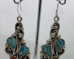 Vintage Tibetian Design Earrings Coral & Turquoise