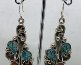 Vintage Tibetian Design Earrings Coral & Turquoise