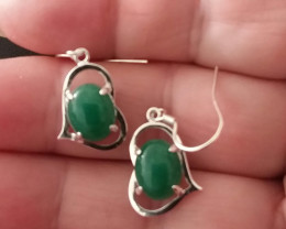 NATURAL GREEN ADVENTURINE EARRINGS 925 STERLING SILVER CASTINGS