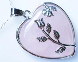 Heart shape Rose Quartz Pendant BU1231a