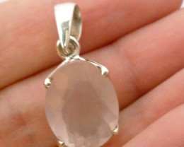FACETED ROSE QUARTZ SILVER PENDANT CTS RT944