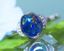 Triplet Silver Opal Rings
