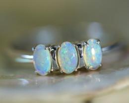 Cute Crystal opals in stylish silver ring SU 1501