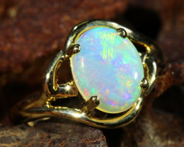Cute Opalfire Crystal pal in 14k Yellow gold Ring SU1033