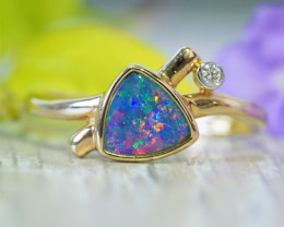 Cute Opal Doublet opal in 14k Yellow gold Ring SU1029