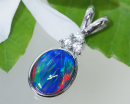 Cute Triplet Opal set in Silver Pendant SU617