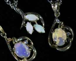 Three Solid Opal into Sterling Silver pendant CF1790