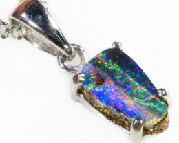 AMAZING BOULDER Opal set in 18k white Gold Pendant CF 1130