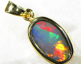 Solid Black Opal Set in 18K Yellow Gold Pendant SU663
