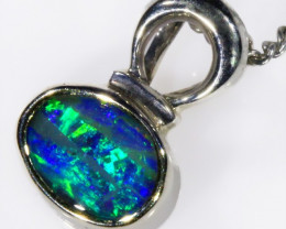 18k White gold with solid Boulder opal CF998
