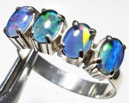 Triplet opal Cluster set in Silver Ring Size PL 1228