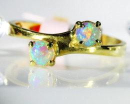 TWIN CRYSTAL OPAL IN 18 K GOLD RING SCO 387