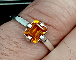 Natural Citrine 925 silver ring.