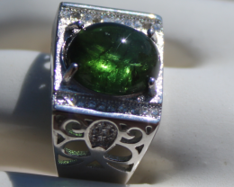 Cats Eye Green Tourmaline 4.30ct, Gold Plated, Solid Sterling Silver Ring,
