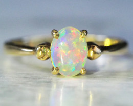 Cute Crystal Opal 18k Yellow Gold Ring SCA3000