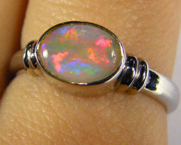 BLACK OPAL 18K WHITE GOLD RING SIZE 6.5 SCO571