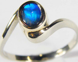 BLACK OPAL 18K WHITE GOLD RING SIZE 6 SCO561