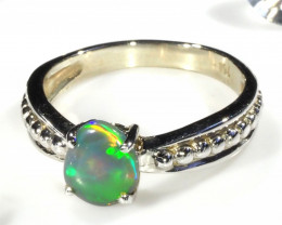 BLACK OPAL RING SIZE 4.25 18 K WHITE GOLD CK 258