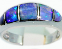 Cute Inlay Opal 18k White Gold Ring SB923