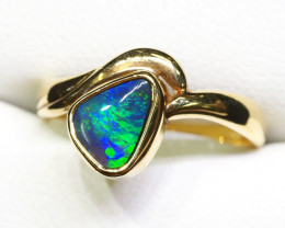 BLACK OPAL RING SIZE 6.5 18 K GOLD CK 247