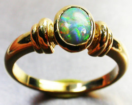 BLACK OPAL RING SIZE 6 18 K GOLD CK 283